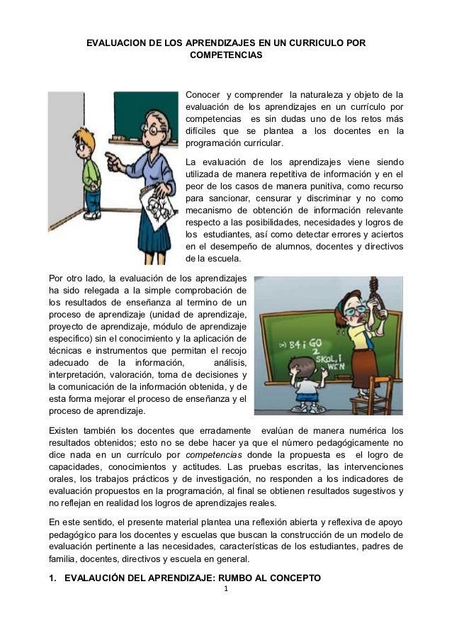 EVALUACION DE LOS APRENDIZAJES EN UN CURRICULO POR                            COMPETENCIAS                                ...