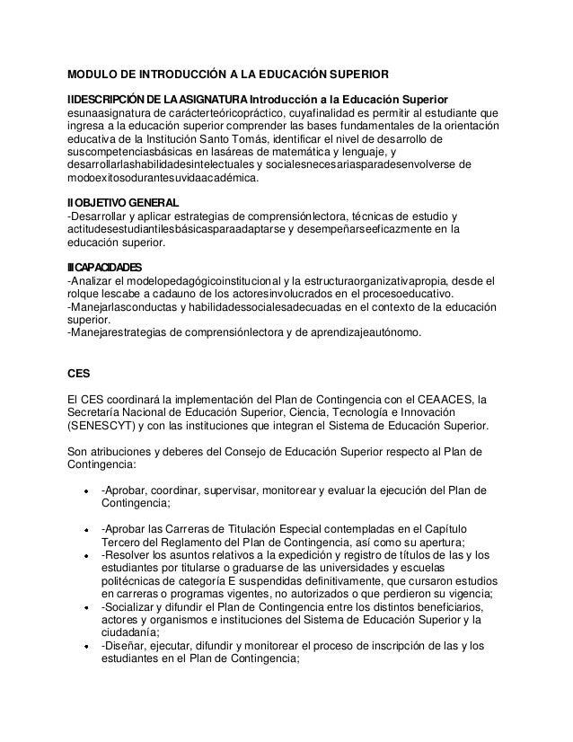 MODULO DE INTRODUCCIÓN A LA EDUCACIÓN SUPERIOR IIDESCRIPCIÓN DE LAASIGNATURAIntroducción a la Educación Superior esunaasig...