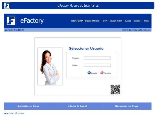 eFactory Modulo de Inventarios Internet www.factorysoft.com.ve