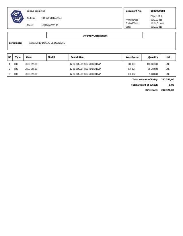 10/27/2015 Document No. 0100000003 Type Code Model Description Warehouse Date: Quantity Unit Inventory Adjustment INVENTAR...