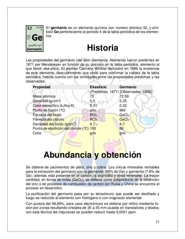 Elementos del grupo iv a v a vi a germanio ge 27 27 el germanio es un elemento qumico urtaz Gallery