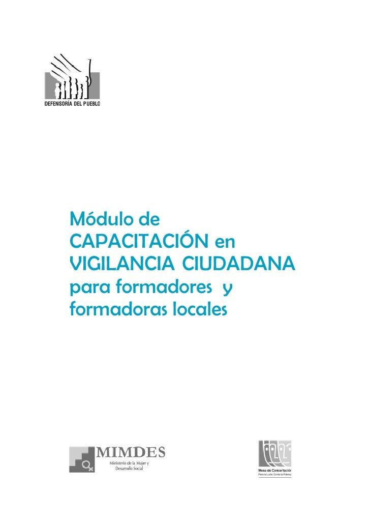 Módulo de CAPACITACIÓN en VIGILANCIA CIUDADANA para formadores y formadoras locales
