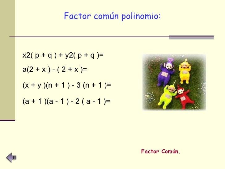 <ul><li>Factor común polinomio: </li></ul>x2( p + q ) + y2( p + q )= a(2 + x ) - ( 2 + x )= (x + y )(n + 1 ) - 3 (n + 1 )=...