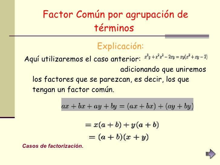 Factor Común por agrupación de términos   <ul><li>Explicación: </li></ul><ul><li>Aquí utilizaremos el caso anterior:  adic...