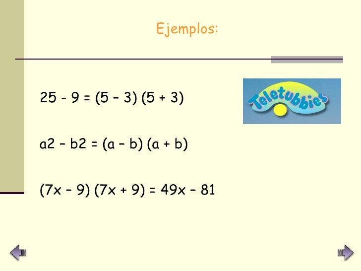 <ul><li>Ejemplos:  </li></ul><ul><li>25 - 9 = (5 – 3) (5 + 3) </li></ul><ul><li>a2 – b2 = (a – b) (a + b) </li></ul><ul><l...