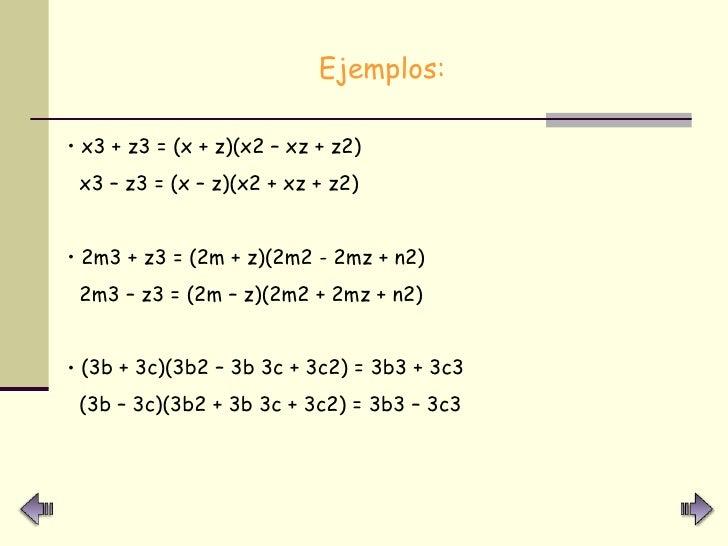 <ul><li>Ejemplos: </li></ul><ul><li>x3 + z3 = (x + z)(x2 – xz + z2) </li></ul><ul><li>x3 – z3 = (x – z)(x2 + xz + z2) </li...
