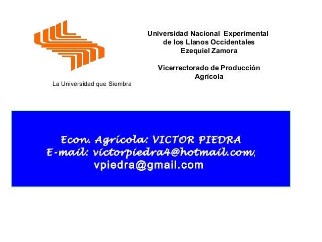 Universidad Nacional Experimental de los Llanos Occidentales Ezequiel Zamora  La Universidad que Siembra  Vicerrectorado d...