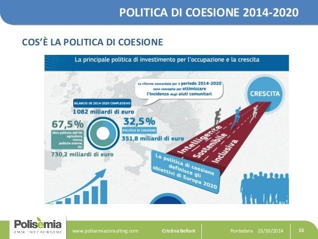 POLITICA DI COESIONE 2014-2020  COS'È LA POLITICA DI COESIONE  Pontedera www.polisemiaconsulting.com Cristina Belloni 23/1...