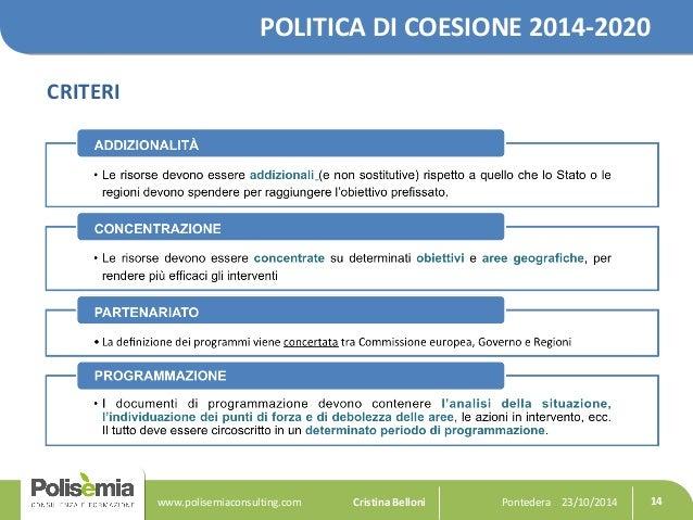 POLITICA DI COESIONE 2014-2020  CRITERI  Pontedera www.polisemiaconsulting.com Cristina Belloni 23/10/2014 14