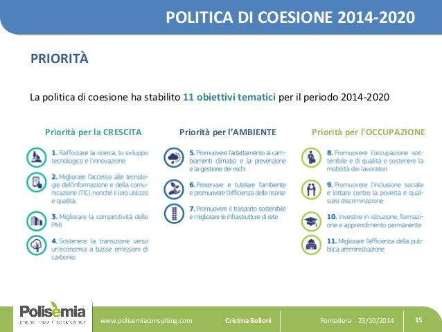 POLITICA DI COESIONE 2014-2020  PRIORITÀ  La politica di coesione ha stabilito 11 obiettivi tematici per il periodo 2014-2...