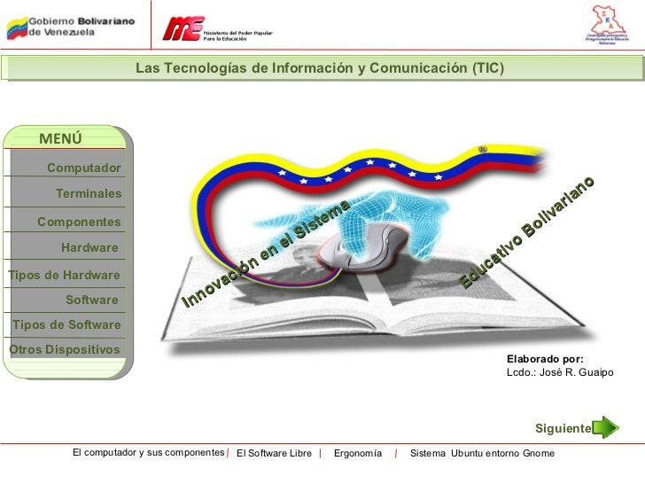 Las Tecnologías de Información y Comunicación (TIC)    MENÚ      Computador                                               ...