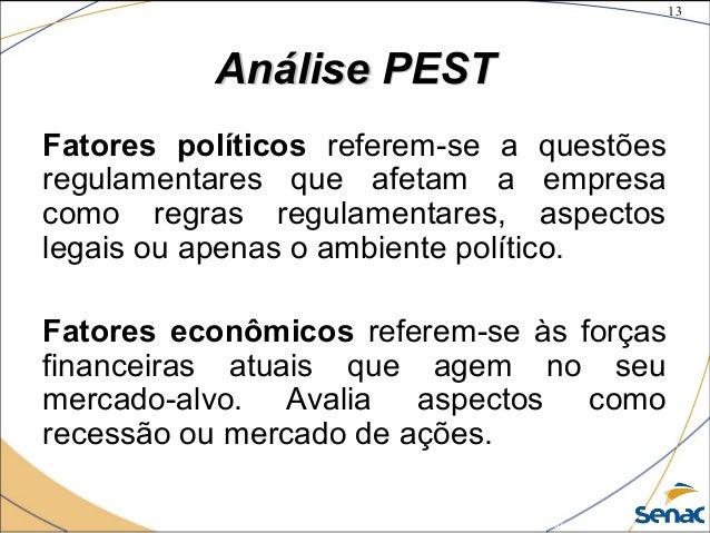 13 ©The McGraw-Hill Companies, Inc., 2004 Análise PESTAnálise PEST Fatores políticos referem-se a questões regulamentares ...