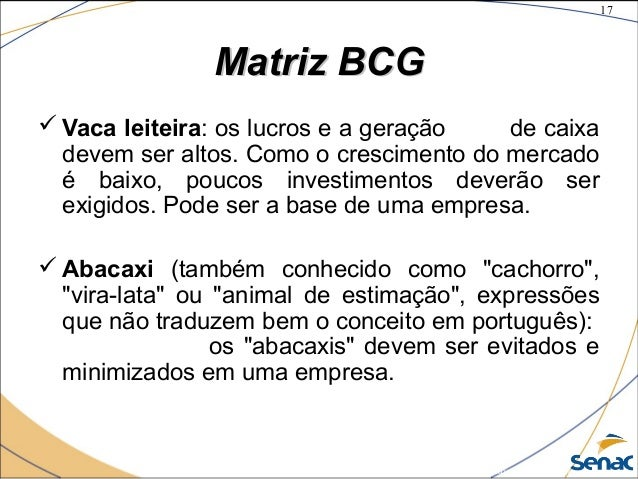 17 ©The McGraw-Hill Companies, Inc., 2004 Matriz BCGMatriz BCG  Vaca leiteira: os lucros e a geração de caixa devem ser a...