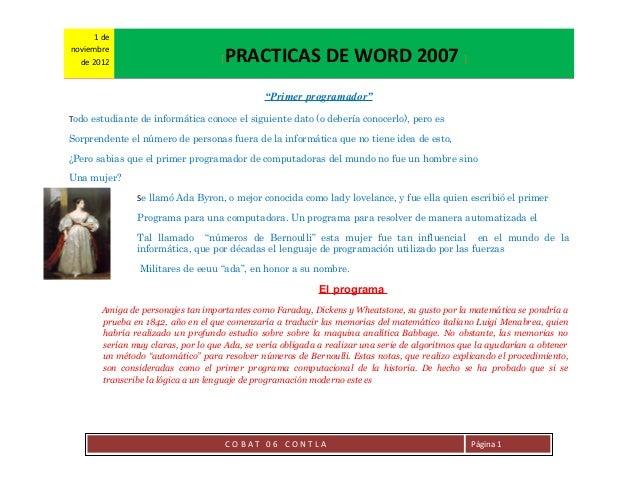 1 denoviembre  de 2012                           [   PRACTICAS DE WORD 2007 ]                                             ...