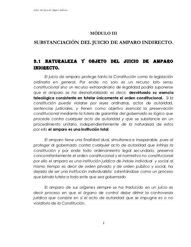 Subst. Del Juicio de Amparo Indirecto.                                             MÓDULO IIISUBSTANCIACIÓN DEL JUICIO DE ...