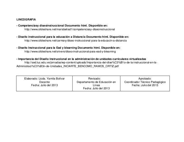 LINCOGRAFIA - Competenciasy diseoinstruccional Documento html. Disponible en: http://www.slideshare.net/marisbeliad1/compe...