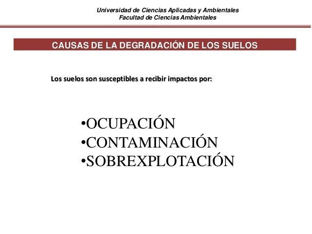 Universidad de Ciencias Aplicadas y Ambientales Facultad de Ciencias Ambientales CAUSAS DE LA DEGRADACIÓN DE LOS SUELOS Lo...