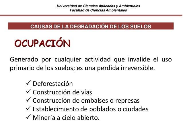 Universidad de Ciencias Aplicadas y Ambientales Facultad de Ciencias Ambientales CAUSAS DE LA DEGRADACIÓN DE LOS SUELOS OC...