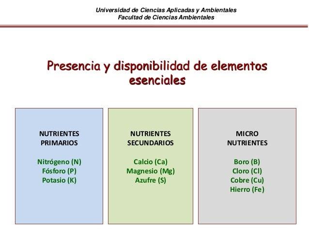 Universidad de Ciencias Aplicadas y Ambientales Facultad de Ciencias Ambientales Presencia y disponibilidad de elementos e...