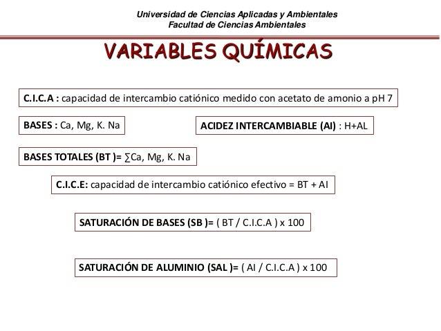 Universidad de Ciencias Aplicadas y Ambientales Facultad de Ciencias Ambientales VARIABLES QUÍMICAS C.I.C.A : capacidad de...