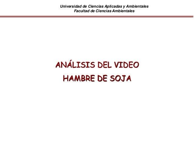 Universidad de Ciencias Aplicadas y Ambientales Facultad de Ciencias Ambientales ANÁLISIS DEL VIDEO HAMBRE DE SOJA