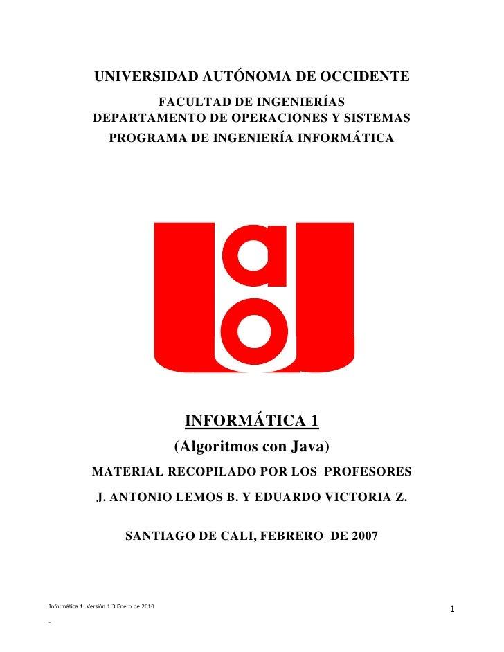 UNIVERSIDAD AUTÓNOMA DE OCCIDENTE                       FACULTAD DE INGENIERÍAS                DEPARTAMENTO DE OPERACIONES...