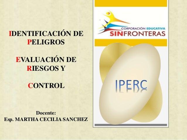 IDENTIFICACIÓN DE  PELIGROS  EVALUACIÓN DE  RIESGOS Y  CONTROL  Docente:  Esp. MARTHA CECILIA SANCHEZ