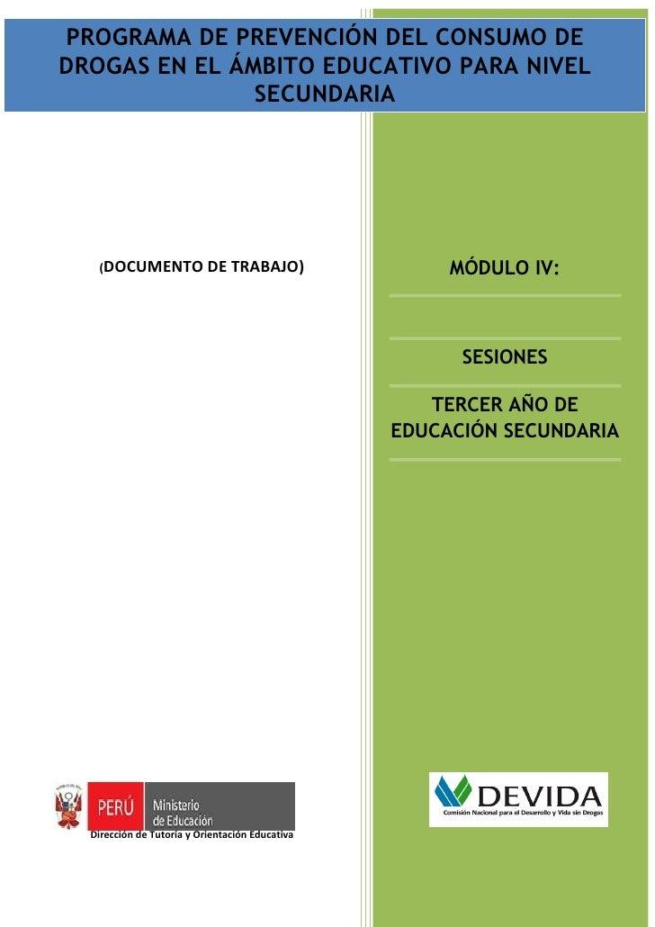 PROGRAMA DECONSUMO DE DROGAS EN EL ÁMBITODEL CONSUMO DE PROGRAMA DE PREVENCIÓN DEL PREVENCIÓN EDUCATIVO PARA NIVEL SECUNDA...