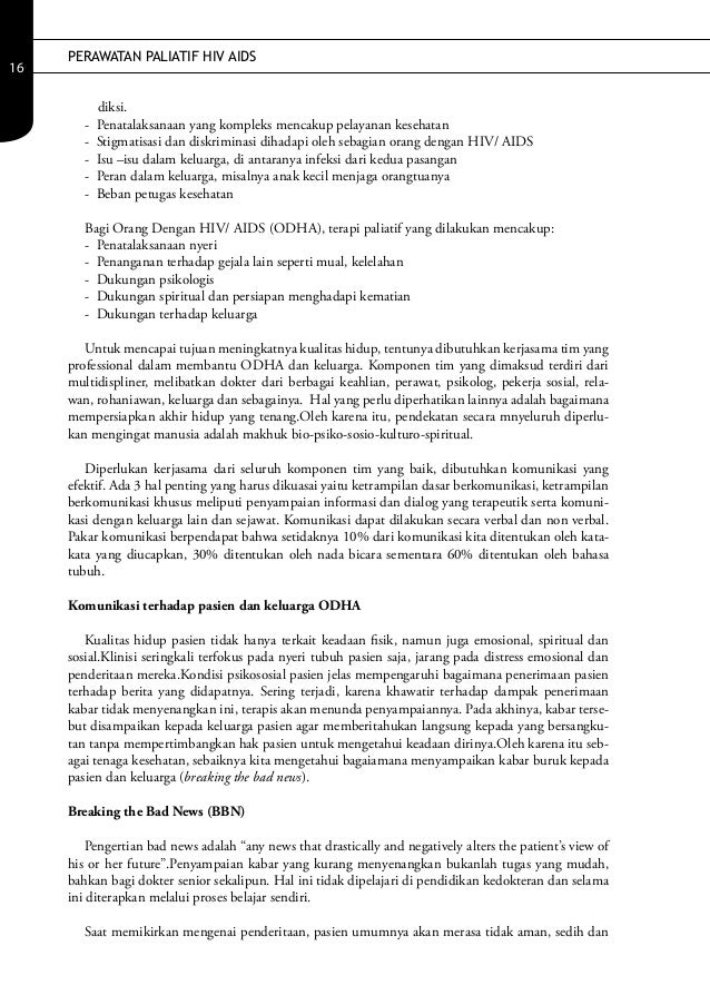 PERAWATAN PALIATIF HIV AIDS16            diksi.        -   Penatalaksanaan yang kompleks mencakup pelayanan kesehatan     ...