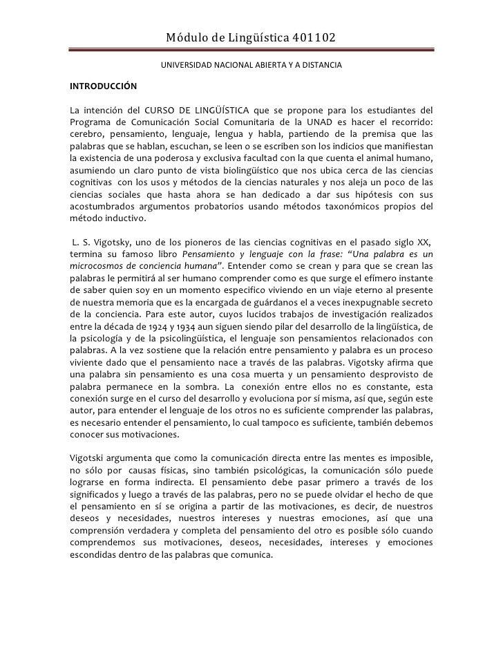Módulo de Lingüística 401102                      UNIVERSIDAD NACIONAL ABIERTA Y A DISTANCIAINTRODUCCIÓNLa intención del C...