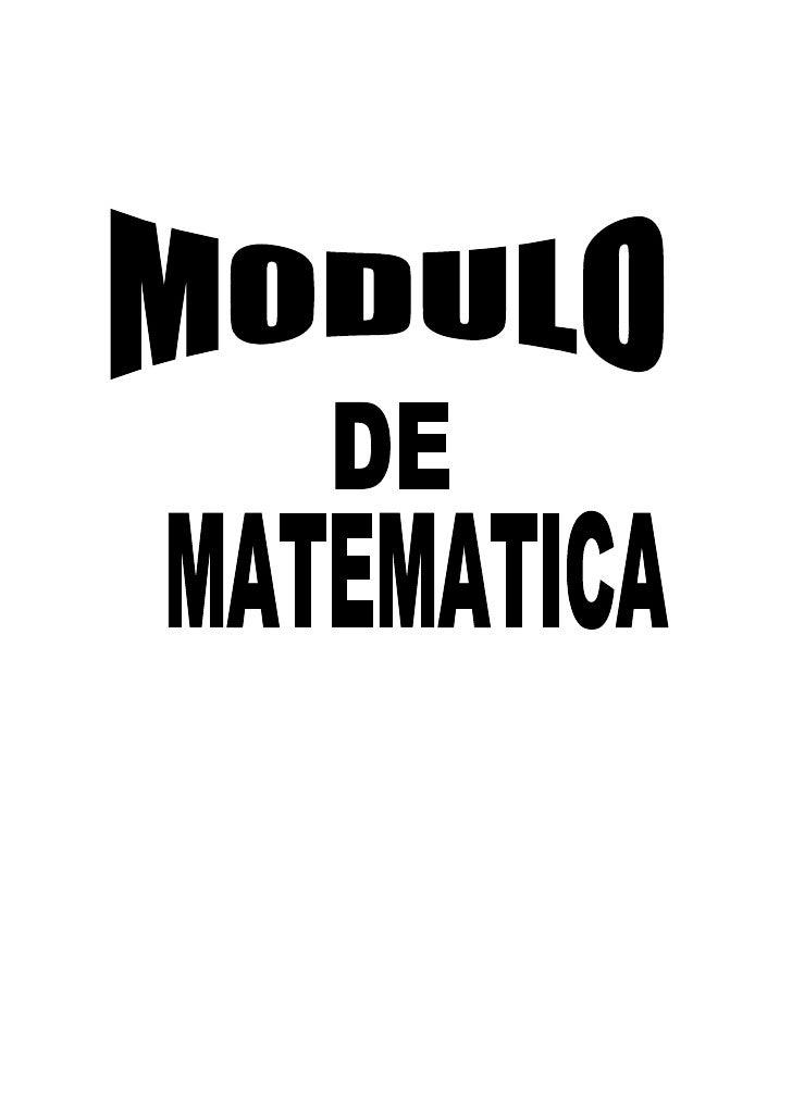 Modulo Matematicas basica