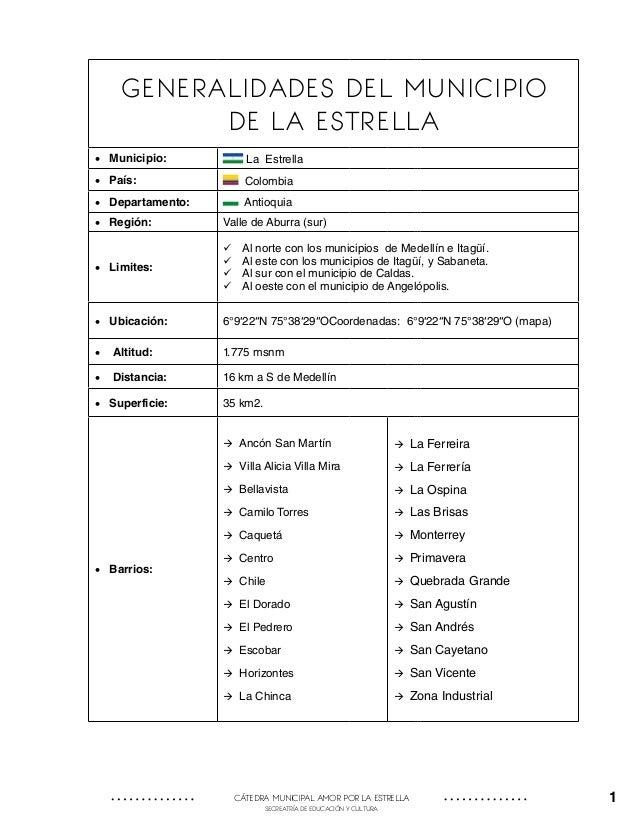 GENERALIDADES DEL MUNICIPIO DE LA ESTRELLA • Municipio:  La Estrella  • País:  Colombia  • Departamento:  Antioquia  •...