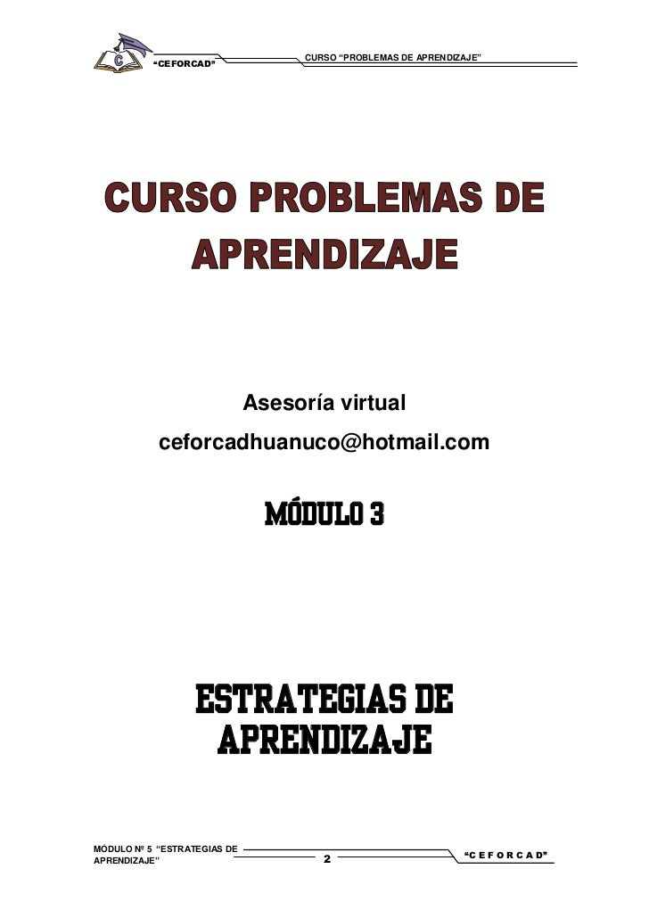 """CURSO """"PROBLEMAS DE APRENDIZAJE""""           """"CEFORCAD""""                              Asesoría virtual            ceforcadhua..."""