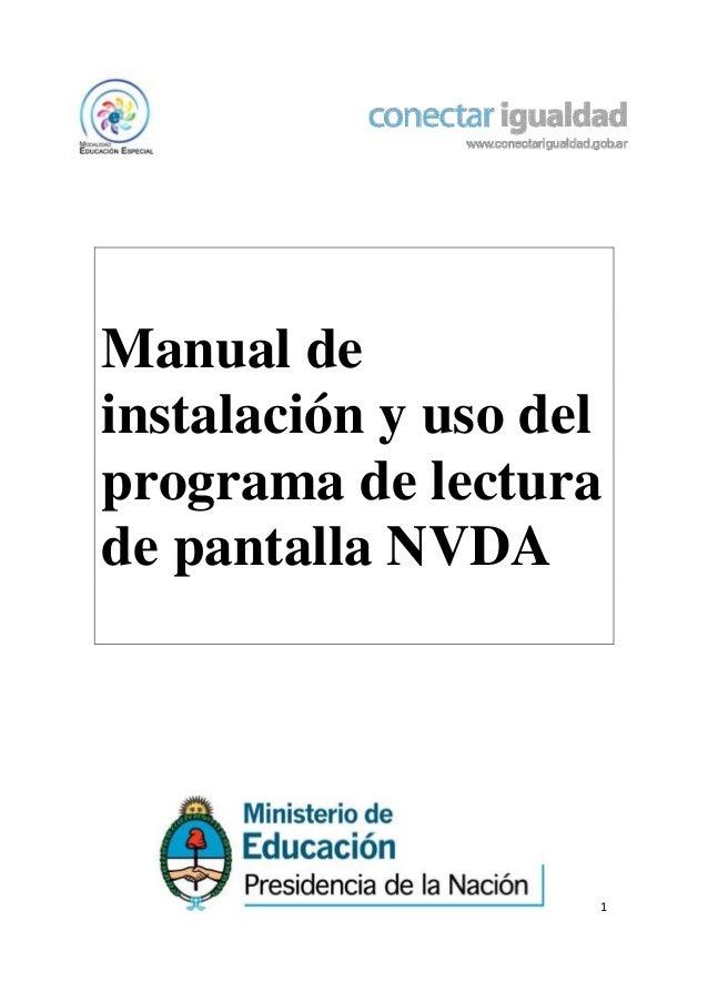 Manual de instalación y uso del programa de lectura de pantalla NVDA  1