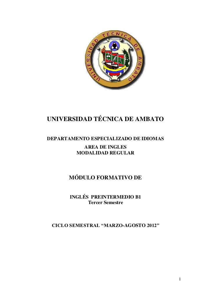 UNIVERSIDAD TÉCNICA DE AMBATODEPARTAMENTO ESPECIALIZADO DE IDIOMAS           AREA DE INGLES         MODALIDAD REGULAR     ...