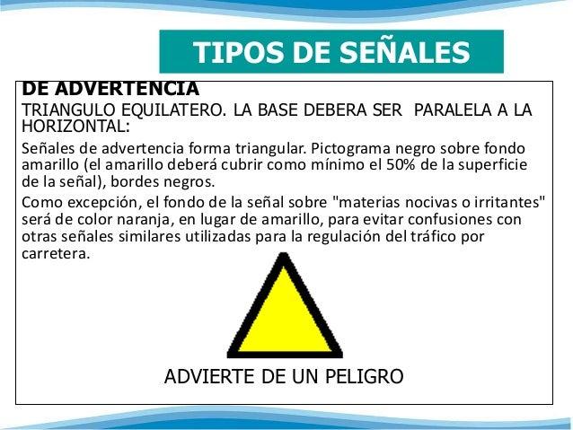 TIPOS DE SEÑALES  DE ADVERTENCIA  TRIANGULO EQUILATERO. LA BASE DEBERA SER PARALELA A LA  HORIZONTAL:  Señales de adverten...