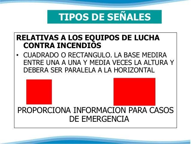 TIPOS DE SEÑALES  RELATIVAS A LOS EQUIPOS DE LUCHA  CONTRA INCENDIOS  • CUADRADO O RECTANGULO. LA BASE MEDIRA  ENTRE UNA A...