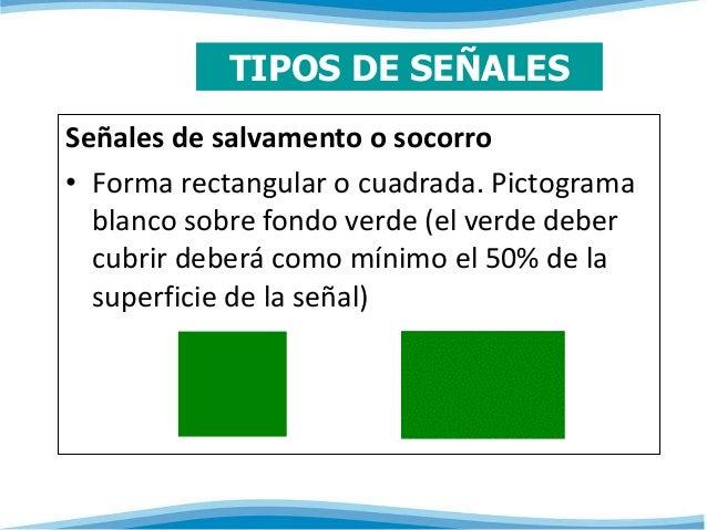 TIPOS DE SEÑALES  Señales de salvamento o socorro  • Forma rectangular o cuadrada. Pictograma  blanco sobre fondo verde (e...