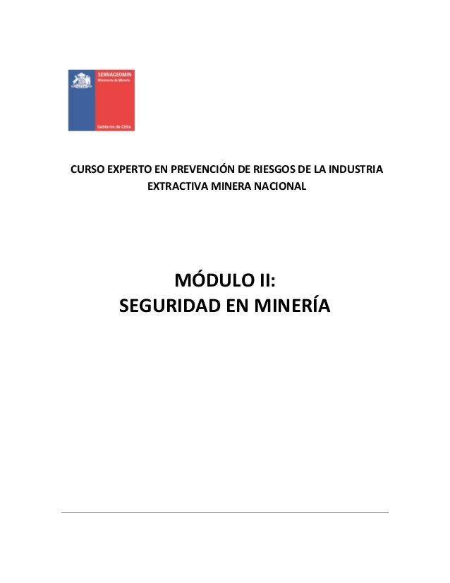 CURSO EXPERTO EN PREVENCIÓN DE RIESGOS DE LA INDUSTRIA EXTRACTIVA MINERA NACIONAL MÓDULO II: SEGURIDAD EN MINERÍA