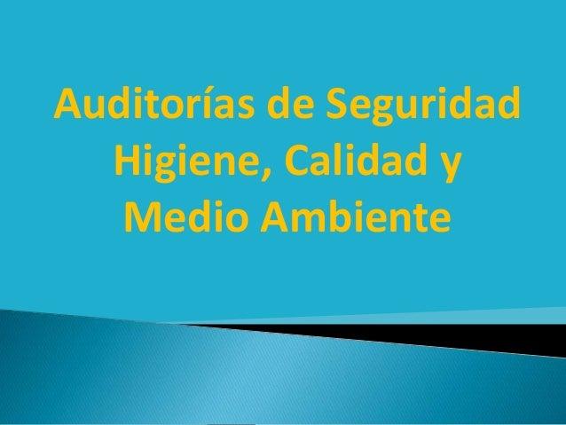 Auditorías de Seguridad Higiene, Calidad y Medio Ambiente