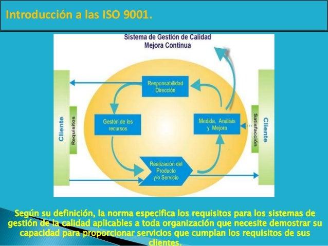 Introducción a las ISO 9001. Según su definición, la norma especifica los requisitos para los sistemas de gestión de la ca...