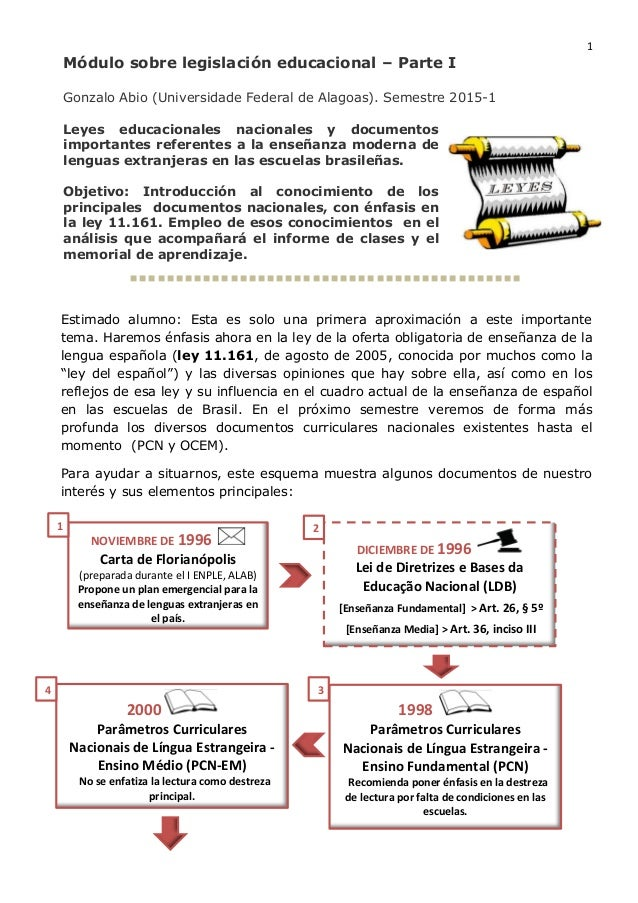 1 Módulo sobre legislación educacional – Parte I Gonzalo Abio (Universidade Federal de Alagoas). Semestre 2015-1 Leyes edu...