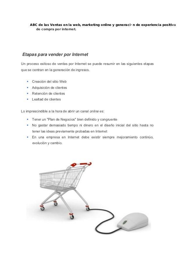 generación de experiencia positiva de compra onlineEtapas para vender por InternetUn proceso exitoso de ventas por Interne...