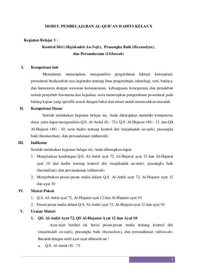 MODUL PEMBELAJARAN AL-QUR'AN HADITS KELAS X  Kegiatan Belajar 1 : Kontrol Diri (Mujahadah An-Nafs), Prasangka Baik (Husnud...