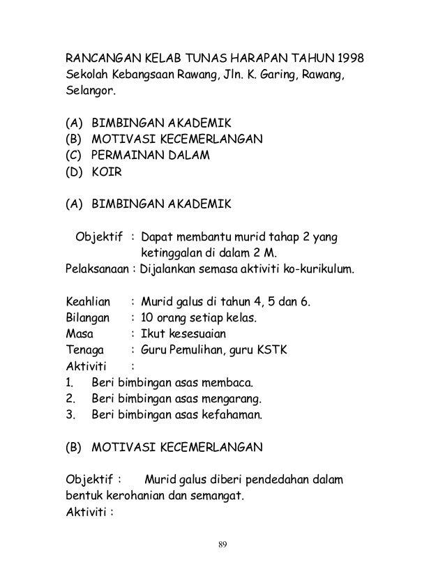 RANCANGAN KELAB TUNAS HARAPAN TAHUN 1998 Sekolah Kebangsaan Rawang, Jln. K. Garing, Rawang, Selangor. (A) BIMBINGAN AKADEM...