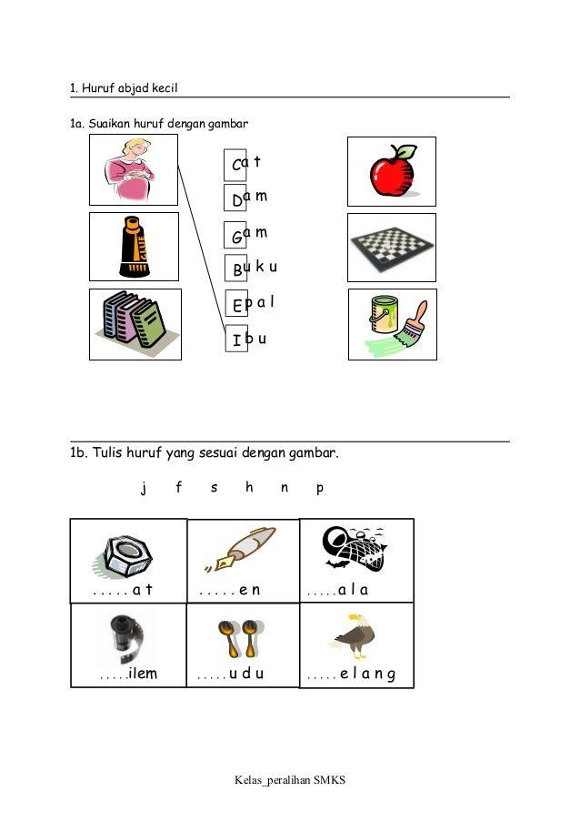 1. Huruf abjad kecil 1a. Suaikan huruf dengan gambar 1b. Tulis huruf yang sesuai dengan gambar. j f s h n p Kelas_peraliha...