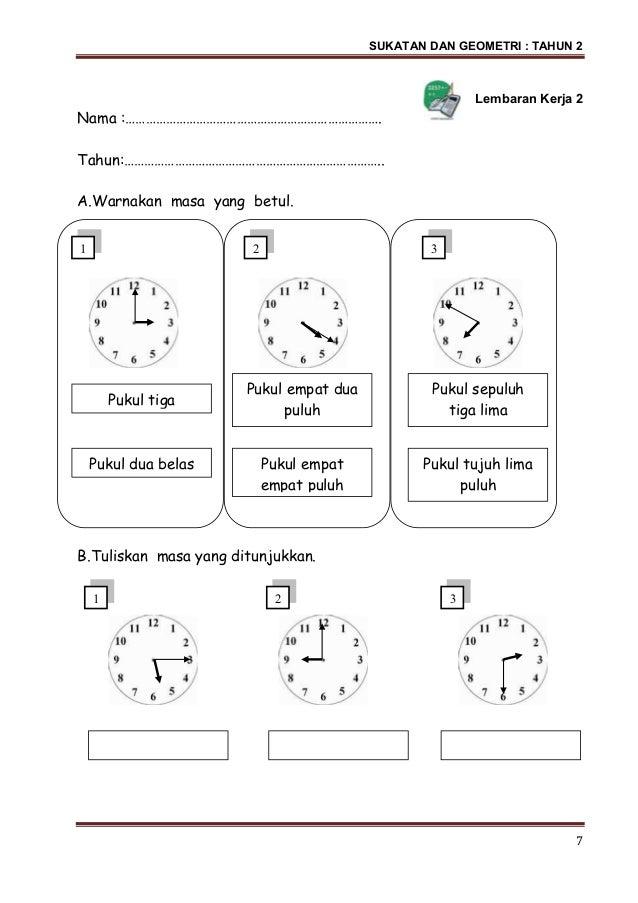 Soalan Matematik Masa Dan Waktu Tahun 2 Selangor T
