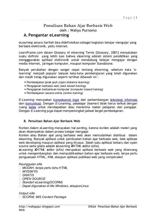P a g e   1 Penulisan Bahan Ajar Berbasis Web oleh : Wahyu Purnomo A.Pengantar eLearning eLearning secara harfiah bisa did...