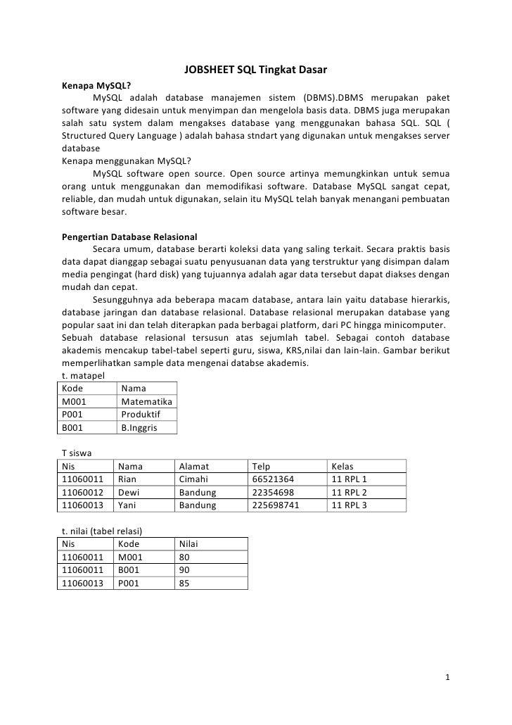 JOBSHEET SQL Tingkat DasarKenapa MySQL?        MySQL adalah database manajemen sistem (DBMS).DBMS merupakan paketsoftware ...