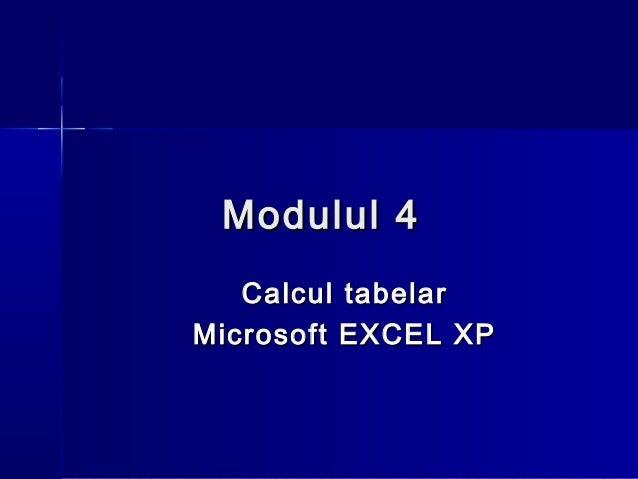 Modulul 4   Calcul tabelarMicrosoft EXCEL XP